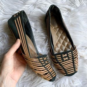 Reef Genuine Suede Boho Basket Weave Padded Flats